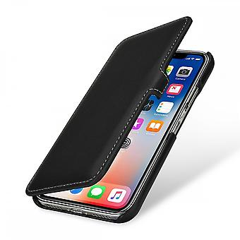 Case For IPhone X Book Type Black Nappa In True Leather