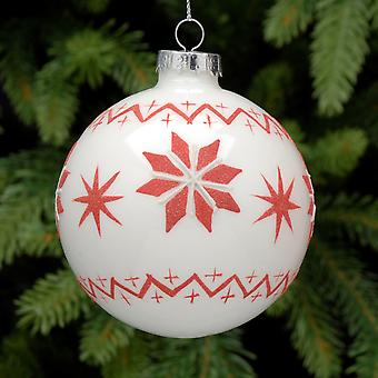 8cm weißes Glas Weihnachtsbaum Bauble mit roten Glitter nordic Skandi Design