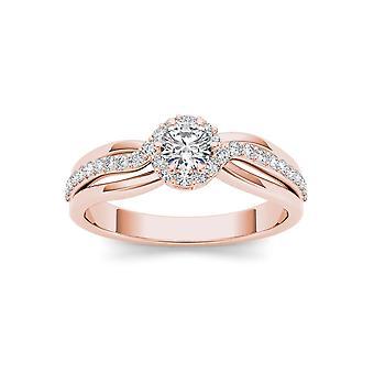 IGI certifié 10 K or Rose 1/2 Ct TDW Diamond Bypass classique bague de fiançailles (I-J, I2)