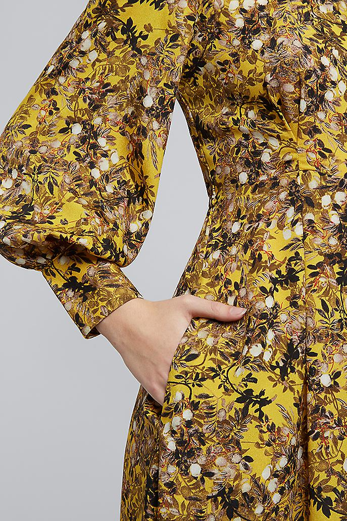 Louche Fiorella Baneberry Long Sleeve Dress Yellow