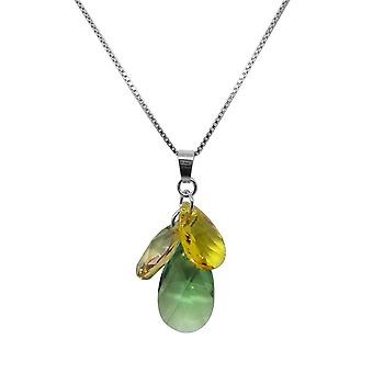 Necklace and pendant Indicolite flower COFLEUR360 - necklace and pendant Silver 925/00 crystals Swarovski green and yellow woman