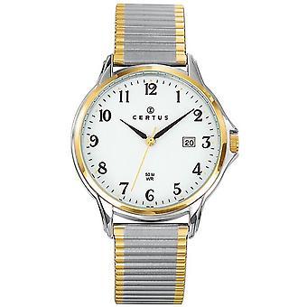 Certus 616390 se-Dateur Steel Bicolore dor og sølv hvit Dial menn