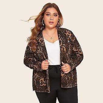 Plus leopard print flap pockets denim coat
