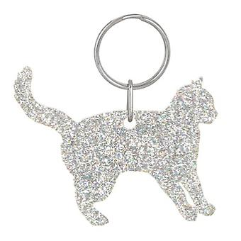 Holographic Silver Cat Style 2 Glitter Acrylic Keyring
