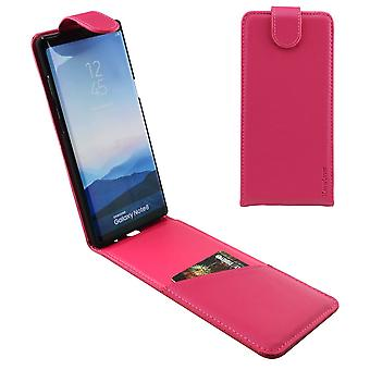 Voor Samsung Galaxy Note 8 Case, iCoverLover Verticale Flip Echt Leer, Magenta