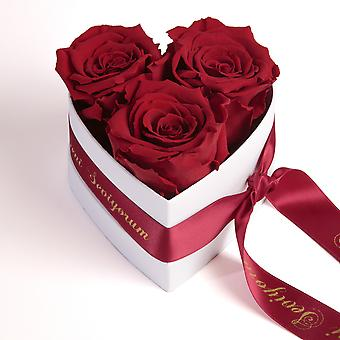 Seni Seviyorum Roses Heart Box 3 Eternal Roses in Dark Red Durable 3 Years