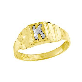 10k Deux tons Bébé d'or pour les garçons ou les fillesLetter Nom personnalisé Monogram Initial K Band Ring Measures 6.3x2.50mm Wide S
