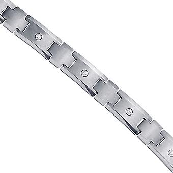Tungsten Mens Polished and Brushed CZ Cubic Zirconia Simulated Diamond Cubic Zirconia Fancy Bracelet 12mm 8.5 Inch Jewel