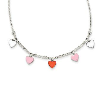 925 Sterling Silver Polished Enamel Love Heart for boys or girls Necklace 14 Inch