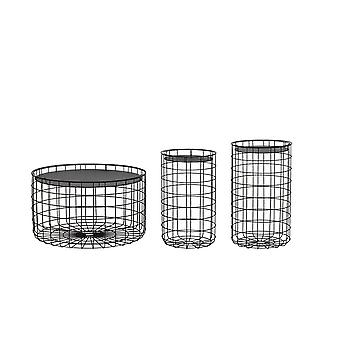 Light & Living Side Table Set Of 3 33x55.5 And 36x60.5 And 71x40cm Jalida Black