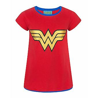 DC Comics Wonder Woman Metallic Logo Officiella Girl & apos, s Karaktär T-shirt
