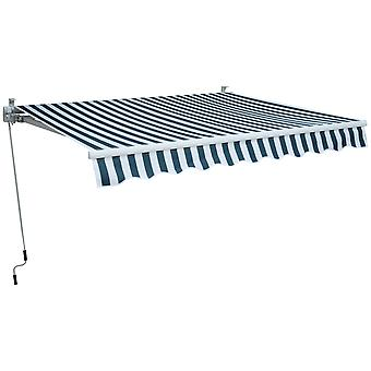Outsunny 2.5m x 2m Garden Patio Manual Awning Canopy Sun Shade Shelter Retractable with Winding Handle Green White