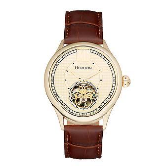 Heritor Automatic Hayward Semi-Skeleton Leather-Band Watch - Gold