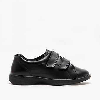Boulevard Rex Ladies Twin Velcro Extra Wide Leather Shoes (eee Fit) Black