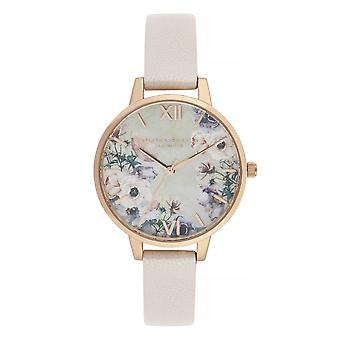 Olivia Burton Watches Ob16pp53 Watercolour Florals Nude, Mother Of Pearl Pink & Rose Gold Watch