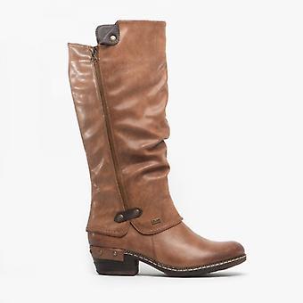 Rieker 93655-26 Ladies varm foret vinter lange støvler kastanje/svart