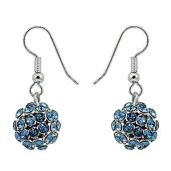 Denim Blue Crystal Mesh Ball Earrings EMB112.15