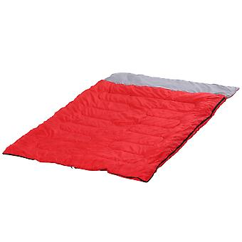 Outsunny Double Sleeping Bag Camping Hiking Envelope Bag Mattress Outdoor Warmth Tent Travel Hiking  210x150cm Red