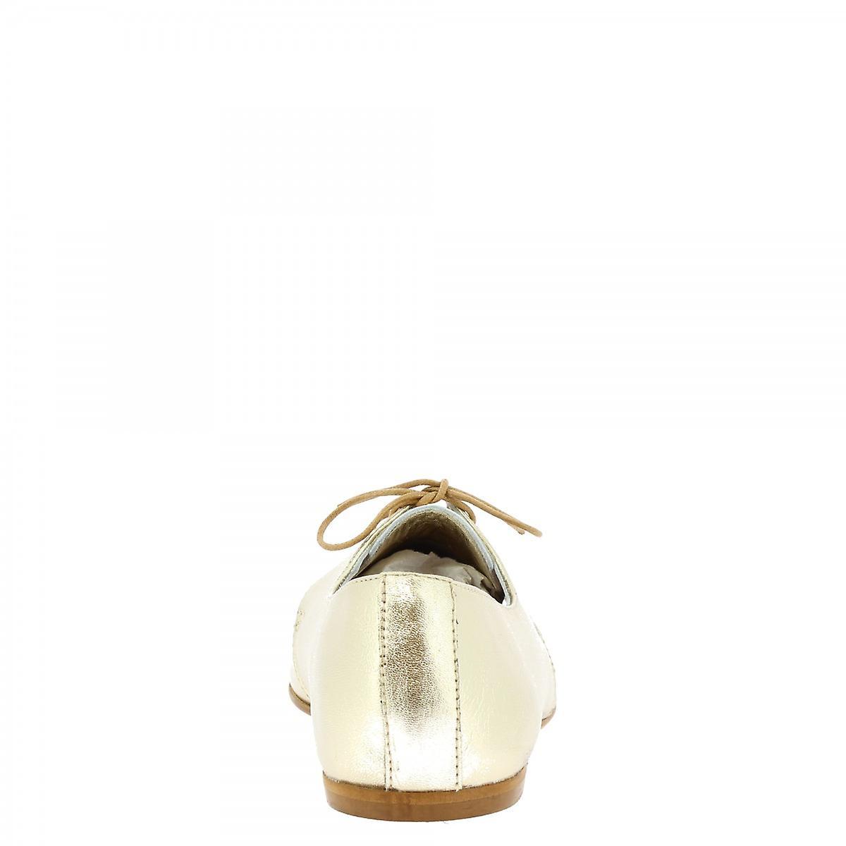 Leonardo Shoes Women's Handmade Lace-ups In Platinum Laminated Leather