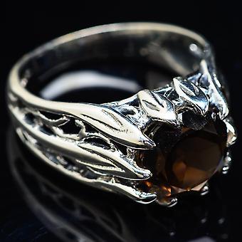 Smoky Quartz Ring Size 9 (925 Sterling Silver)  - Handmade Boho Vintage Jewelry RING3781