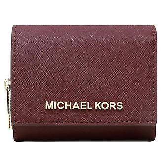 Michael kors jet set travel small multifunctional zip around case wallet merlot