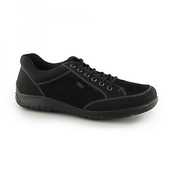 ريكر B6501-00 رجال فو الجلود الدانتيل حتى عارضة أحذية سوداء