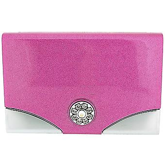 FMG Metallic Pink Business Card Holder & Hidden Mirror, Made With Swarovski Crystals, in Gift Presentation Box