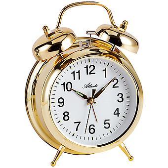 Atlanta 1060/9 Mekaaninen herätyskello herätyskello kaksinkertainen kello herätyskello kultainen