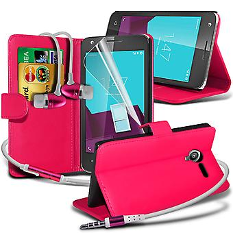 i-Tronixs Vodafone Smart Ultra 7 PU Leather Wallet Flip Case + Earphones -Pink