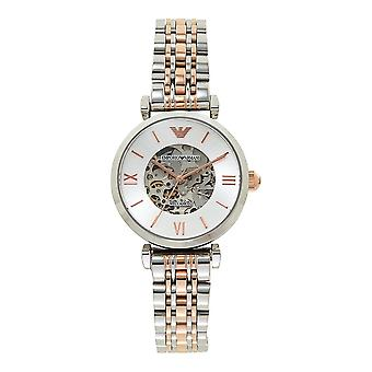 Armani Watches Ar1992 Meccanico Silver And Rose Gold Stainless Steel Automatic Ladies Watch