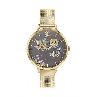 Sara Miller SA4014 Women's Birds In Moon Mesh Bracelet Wristwatch