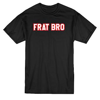 Frat Bro Red & White Text Graphic Men's T-shirt