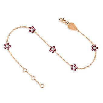 Anklet Constellation Fairy Flower on Precious Stone 18K Gold and Diamonds - Rose Gold, Ruby