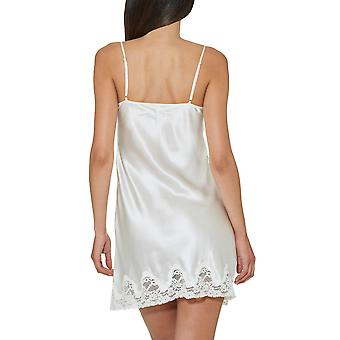 Aubade VI40 Women's Crepuscule Satine Nacre Off White Lace Silk Nightdress