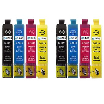 2 Go Inks Set of 4 Ink Cartridges to replace Epson T1816 (18XL)  Compatible/non-OEM for Epson  Expression Home Printers  (8 Inks)