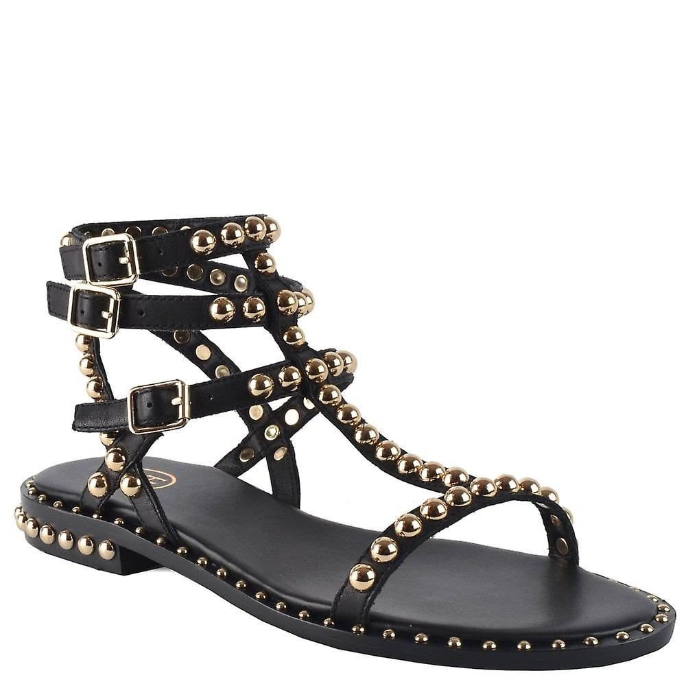 Ash Footwear Play Black Leather Gold Studded Sandal