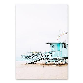 Ocean Landscape Canvas Poster Nordic Style - Beach Pink Bus  -  Wall Art Print Painting