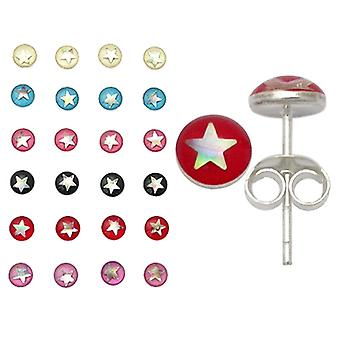 Star fixed in Resin Ear Studs in a 12 pair Tray
