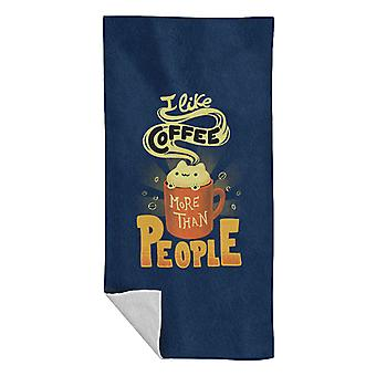 Cat Likes Coffee More Than People Beach Towel