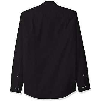 Essentials Men's Slim-Fit Long-Sleeve Solid Casual Poplin Shirt, Black...