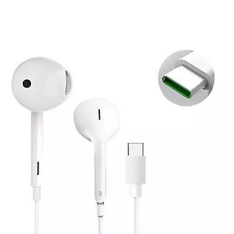 Official Oppo MH147 USB-C Earphones Headphones - White (Bulk Packed)