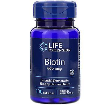 Life Extension, Biotin, 600 mcg, 100 Kapseln