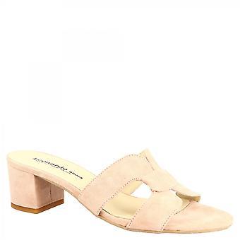 Leonardo Schuhe Frauen's handgemachte Rutsche Mitte quadratische Nheels Sandalen in Pulver rosa Wildleder