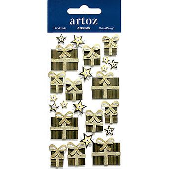 Gold Brown Xmas Gift Boxes Craft Embellishment By Artoz