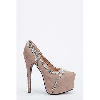 Chunky Platform Diamante Trim Heels