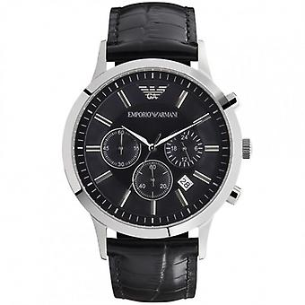 Armani Black Leather Mens Chronograph Orologio Ar2447
