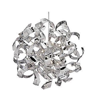 6 Licht lint plafond hanger chroom met glazen kristallen, G4-lamp