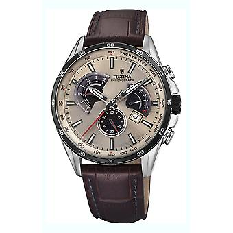 Festina chronograph watch for Analog Quartz Men with Cowhide Bracelet F20201/2