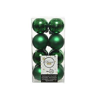 16 Holly Green 4cm Shatterproof Kerstboom Decoraties