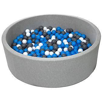 Poço de bola 125 cm com 600 bolas brancas, azuis e cinzas